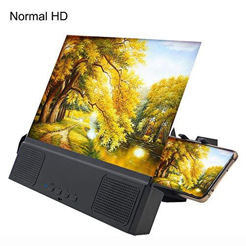 YZT QUEEN Screen vergroter, 12-inch 3D mobiele telefoon scherm projector met Bluetooth draadloze luidsprekers, 3-4x vergroting, HD draagbare film versterker voor alle IOS en Android smartphones