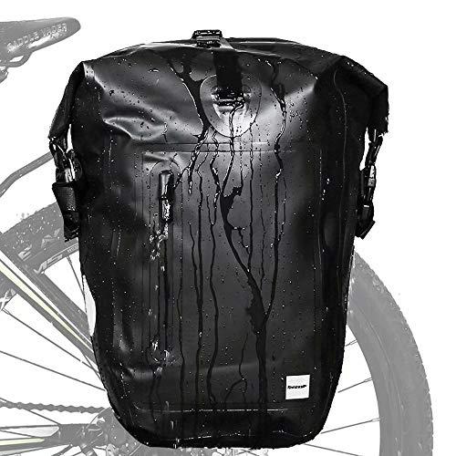 Rhinowalk 25L Bike Pannier Bag Waterproof Bicycle Rear Seat Bag for Cycling Bicycling Traveling Riding, Black
