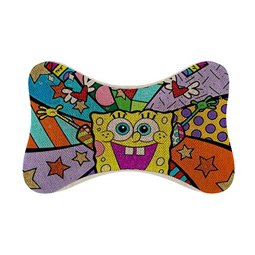 ZWFLAU Car Pillow Spongebob Rinbow World Bone Pillow for Car Seats Office Chairs and Home Sofas Relax (One Pair)