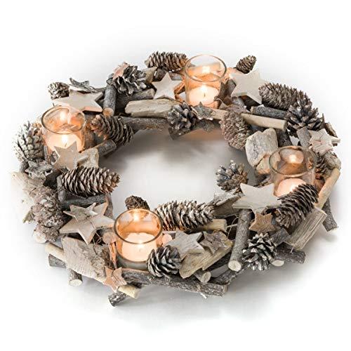 Pureday Adventskranz Shabby - Dekokranz mit Teelichtgläsern - Natur - ca. Ø 38 cm