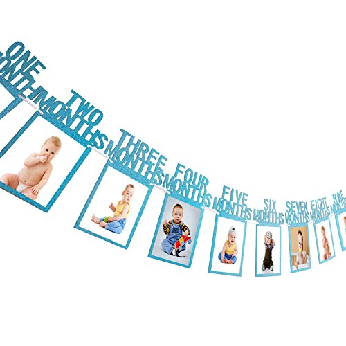 Bememo 1st Birthday Bunting Garland Baby Photo Banner Baby 1-12 Month Photo Prop Party Bunting Decor Thickened Card Paper (Blue)