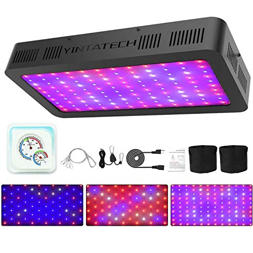 YINTATECH 1500W LED Grow Light, Growing Lamp Full Spectrum for Indoor Hydroponic Greenhouse Plants Veg and Flower with Double Switch, Daisy Chain, Adjustable Rope Hanger, Hygrometer Thermometer