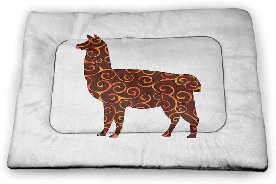 DayDayFun Llama Pet Placemat South American Domestic Animal Silhouette with Swirled Lines Abstract Alpaca Design pet Bed Warmer Orange Brown