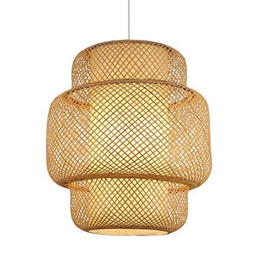 EDG Natürliche Holz Pendelleuchte Handgefertigte Bambus Lampenschirm Wicker Rattan Kronleuchter südostasiatischen Stil Laterne Hängedeckenleuchten Fixture E27,35cm