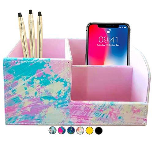French KOKO PU Leather Desk Organizer Cute Pen Holder Office Pencil Holders Table Top Desktop Desk...