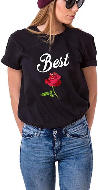 Camiseta de manga corta para 2 niñas, estampada rosa BFF para dos niñas, color negro y blanco