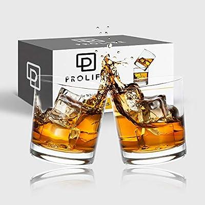 Whiskey Glasses, PROLIFE 10 OZ Old Fashioned Whiskey Glasses Set of 2 for Scotch Whiskey Lovers/Style Glassware for Bourbon/Rum Glasses/Bar Whiskey Glasses