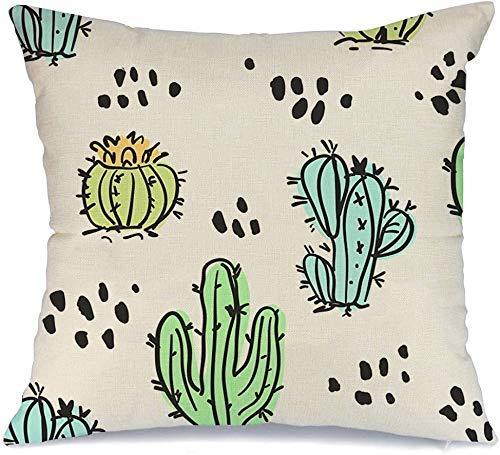 Funda de Cojine Throw CojínJardín Lindo Mano Cactus Cactus Dibujados Suculentas Creativas Tinta Repetida Naturaleza Tropical Verano Fundas para almohada 45X45CM