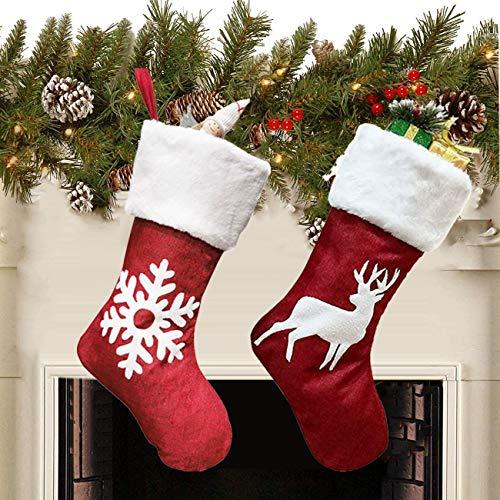 Queta 2 Stück Weihnachtssocken, Weihnachtsstrümpfe, Geschenktüten für Weihnachten, Dekoration und Dekoration für Zuhause für Süßigkeiten und Geschenke (46 x 27 x 20 cm) (B)