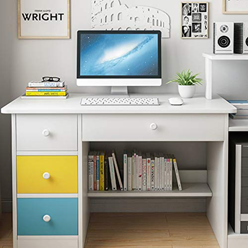 Computer Desk for Home Office Furniture Kids Study Writing Table with 3 Drawers and 1 Open Cabinet Door, Modern Simple Simplicitys Study Table with Large Desktop PC Laptop Workstation
