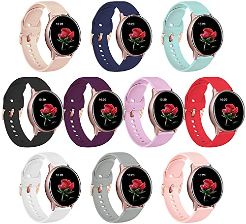 10 Pack Strap compatible con Samsung Galaxy Active 2 / Galaxy Watch 3 41mm / Galaxy Watch 42mm / Galaxy Watch Active, 20mm Silicone Rose Gold Hebilla de pulsera para mujer correas de reloj JIAOXIAOHUI