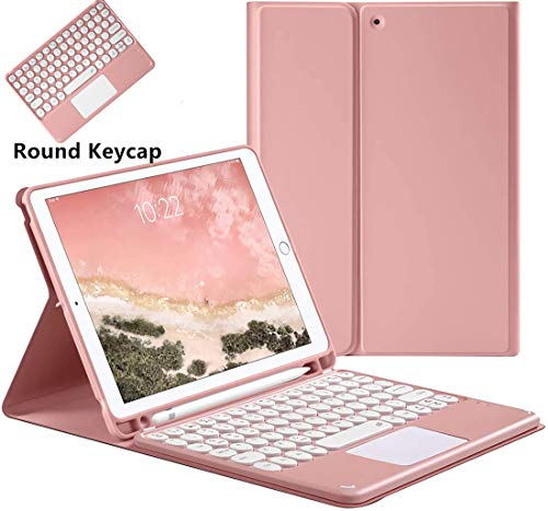 iPad Keyboard Case for iPad 2018/2017 Case with Touchpad & Pencil Holder, iPad 5th/6th Generation and iPad Air 1/2 Cover 9.7 inch Auto Sleep/Wake with Detachable Bluetooth Keyboard (Pink)