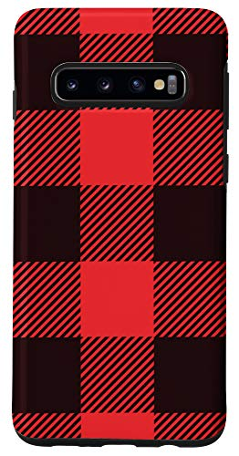 Galaxy S10 Buffalo Plaid Red Checkered Pattern Case