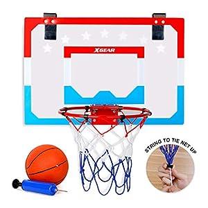 XGEAR Canasta Baloncesto Tablero Baloncesto Juego Al Aire Libre y Interior Oficina Habitación Jardín Aro Baloncesto para Niños y Adultos (Incluyendo Inflador y Pelota)