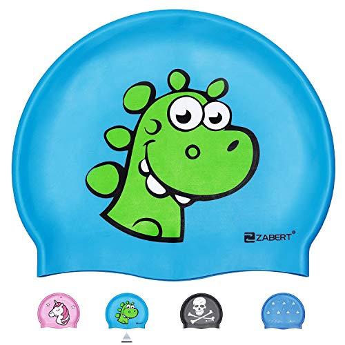 ZABERT C300 Kinder Badekappe Silikon Badekappen Wasserdicht schwimmhaube kinderbadekappe Jugend Jungen mädchen Baby - Lange Haare badehaube Bademütze Grün Dinosaurier