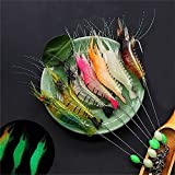 Fishing Lures Shrimp Bass Lures Shrimp Baits, Soft Luminous Shrimp Lure Set, 7 Pcs Bass Lures Silicone Enticement Set with Hooks for Freshwater and Saltwater