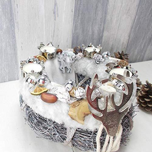 Adventskranz, Teelicht, silber grau, Tischkranz, Weihnachten, Adventsdeko,