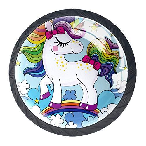 Juego de 4 tiradores de cajón y pomos para cajones con tornillos de cristal para cajón de cocina, puerta de cocina, armario de armario, bonito unicornio con colorido pelo arco iris