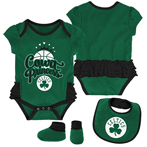 Outerstuff NBA Newborn Infants Mini Trifecta 3 Piece Creeper, Bib and Bootie Bodysuit Set (24 Months, Boston Celtics)