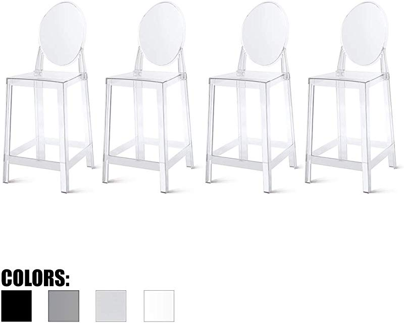 2xhome Set Of Four 4 25 Seat Height Barstool Modern Ghost Side Bar Stool Counter Stool Accent Stool Lounge No Arms Armless Arm Less Chairs Seats Mid Century Design Clear