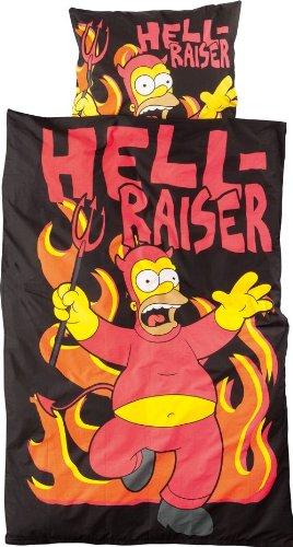 Los Simpson United Labels 116483 Juego de funda nórdica con diseño de Homer demonio (funda: 135 x 200 cm, almohadón 80 x 80 cm)