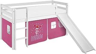 Lilokids Lit mezzanine JELLE Princesse -lit d'enfant blanc - avec toboggan et rideau - lit 90x200 cm