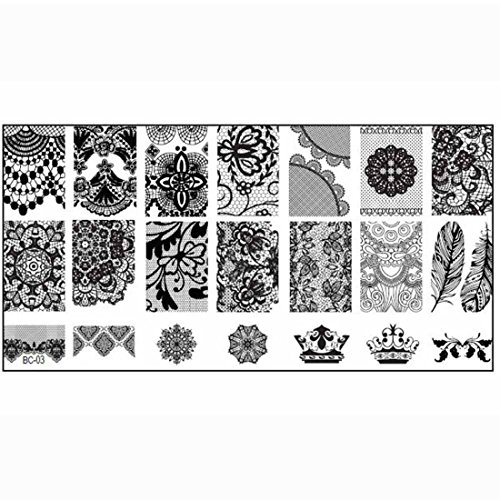 TOOGOO Modele d'Estampage d'art DIY Modele d'imprimante Outil de Manucure Decoration d'art des ongles Modele d'Estampage a ongles DIY pour les femmes Modele BC03#