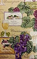 "Tuscan Themed Vinyl Flannel BackTablecloths - Wine and Grapes (52"" x 70"" Oblong) [並行輸入品]"