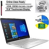 "HP 15 Laptop Computer_10th Gen Intel i5 1035G1(Beats i7-7500U) _15.6"" Touchscreen _12GB DDR4 _256GB PCIe SSD + 1TB HDD_ Webcam_ Online Class Ready _Windows 10 _BROAGE 3-in-1 Stylus 64GB Flash Drive"
