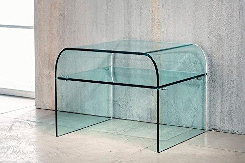 Imago Factory Dream – Chevet en verre – Pont en verre incurvé Transparent avec plateau