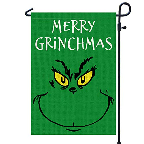 PAMBO Merry Grinchmas Garden Flag -Christmas Grinch Garden Flags 12x18 Double Sided for Outside Yard Outdoor Decoration