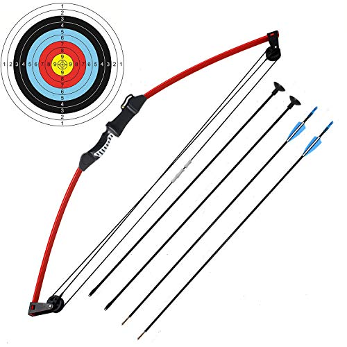 kaimei 35' Junior Compound Bow and Arrow Archery Set Outdoor Sports Game Hunting Toy Gift Bow Kit Set with 4 Arrows for Kids Children Teens Youth (red)