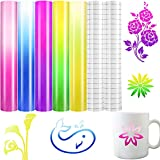 7 Sheets Color Changing Vinyl Cold Color Changing Vinyl and Transfer Film 12 x 10 Inch Color Changes with Temperature Self-Adhesive Vinyl Sheets for Cup Water Decals Bottle