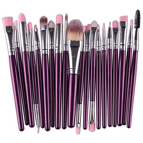 GONGFF Eye Makeup Brushes Set Ombre à Paupières Cils à Sourcils Eyeliner Pinceau À Lèvres Éponge Pinceau Brosse Outil Cosmétique, Pourpre Argent