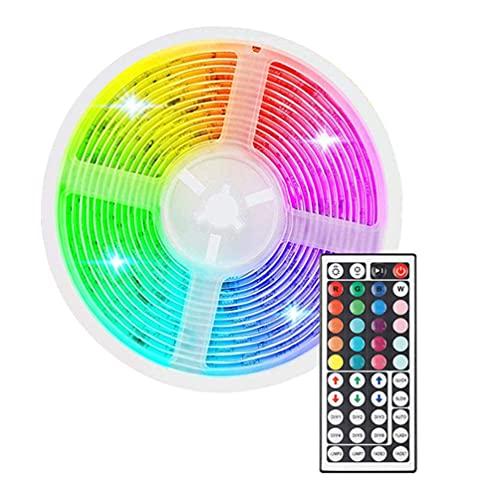 Adornment LED luces de tira LED kits de tira de luz impermeable Color Cambio de cuerda LED Luz de cinta de tira con controlador compatible con dormitorio TELEVISOR Escritorio de cocina 5m (blanco) Dep