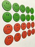 20 imanes de colores Smileys de 2 cm de diámetro (10 verde riendo y 10 rojos) por ejemplo para presentaciones, formación, trabajos de proyectos, clases.
