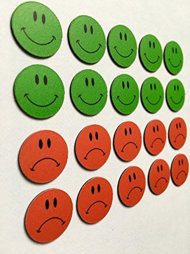20 bunte Smileys Magnete Ø 2cm (10 grüne lachende und 10 rote traurige) z.B. für Präsentationen, Schulungen, Projektarbeit, Unterricht.