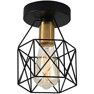 WELTRANS Semi Flush Mount Ceiling Light, Industrial Farmhouse Light Fixture with Metal Cage, Lamp Fixtures for Kitchen Bedroom Hallway Stairway Garage Living Room Dining Room