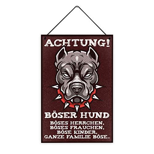 Fashionalarm Holzschild - Achtung böser Hund ganze Familie böse Bedruckt | Deko-Schild mit Spruch als lustige Geschenk-Idee Hundebesitzer Pitbull, ca. 20x30 cm, 8 mm