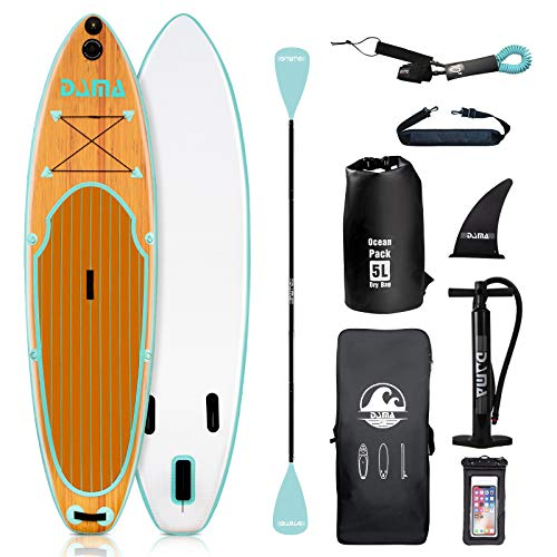 """DAMA Blow Up Paddle Boards Adults 9'6""""x30""""x6"""", Traveling Board, Yoga Board, GoPro Seat, Floating Paddle, Double Action Hand Pump, Waterproof Bag, Leash, Board Carrier, for Surfing, All Round Board"""