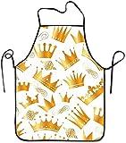 N/A Delantales de Cocina para Mujeres, Hombres, niñas, Camarera Duradera, Delantales de Chef, Corona Dorada para cocinar/Hornear/Barbacoa/jardinería, Divertido y único Babero de Cintu