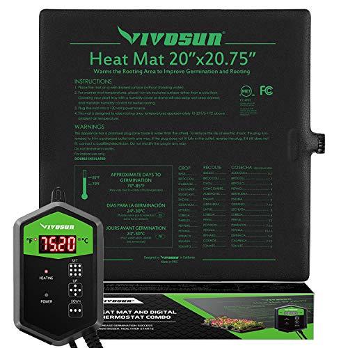 "VIVOSUN 20"" x 20.75"" Seedling Heat Mat and Digital Thermostat Combo Set"