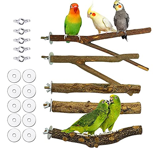 Bird Perch Stand Set Bird Cage Accessories 2 Branch Perch 3 Wooden Stick Perch Parrot Standing Stick Wooden Bird Standing Perch For Budgies Parakeet Cockatiels Cage Stand Toy