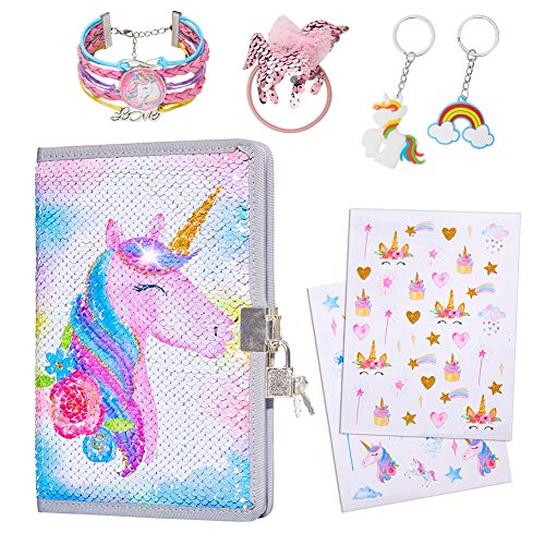 ICOSY Girls Sequin Diary Unicorn Journal for Girls Unicorn Gifts Notebook with Lock/Bracelet/Hair Tie/Key Rings/Stickers