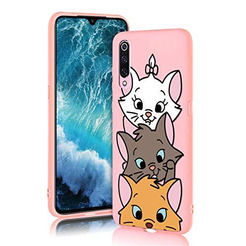 ZhuoFan Funda Xiaomi Mi 9 SE, Cárcasa Silicona Rosa con Dibujos Diseño Suave Gel TPU Antigolpes de Protector Piel Case Cover Bumper Fundas para Movil Xiaomi Mi 9SE, 3 Gato
