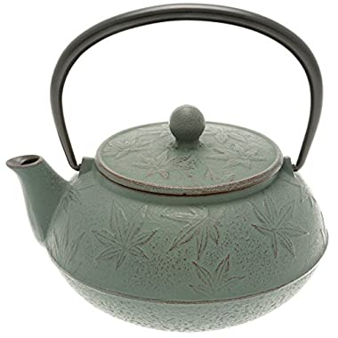 Iwachu Japanese Iron Tetsubin Teapot with  Rikyu Green  Maple Leaf, Burgundy/Lichen Green