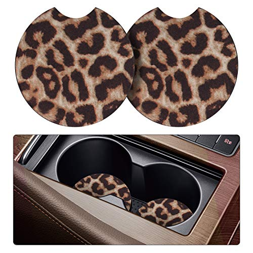 Tifanso 2 Pack Car Coasters for Drinks Absorbent - 2.75 inch Car Cup Holder Coasters, Leopard Rubber Coasters, Removable Universal Neoprene car Coasters for Women, Cute Car Auto Interior Accessories