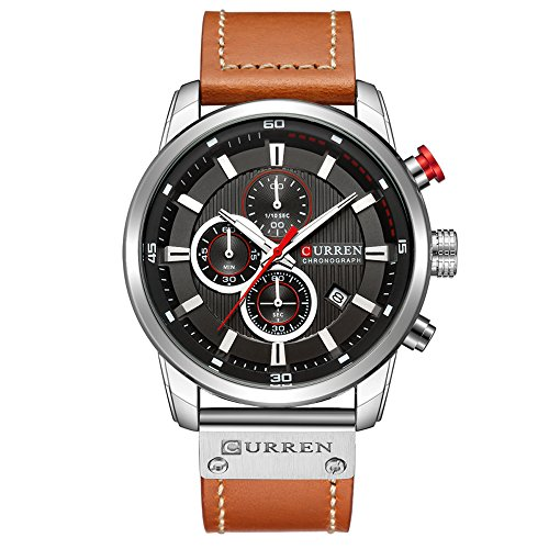 Mens Watches,CURREN Watches Quartz Analog Calendar,Wrist Watch for Men, Fashion Waterproof Stainless Steel Band-Black…