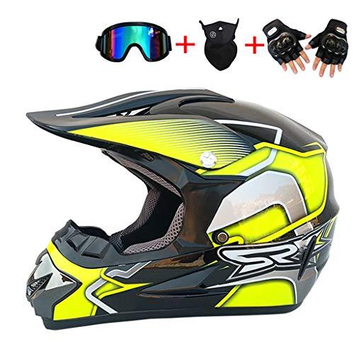 TYXTYX Motocross Helm Downhill Helm für Jugendliche Erwachsene Geschenke Schutzbrillenmaske Handschuhe Tasche BMX MTB ATV Fahrradrennen Integralhelm