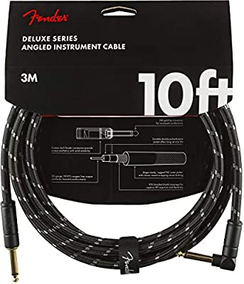 Fender Deluxe Series Instrument Cable - 10 ft – STR/ANG – Black Tweed